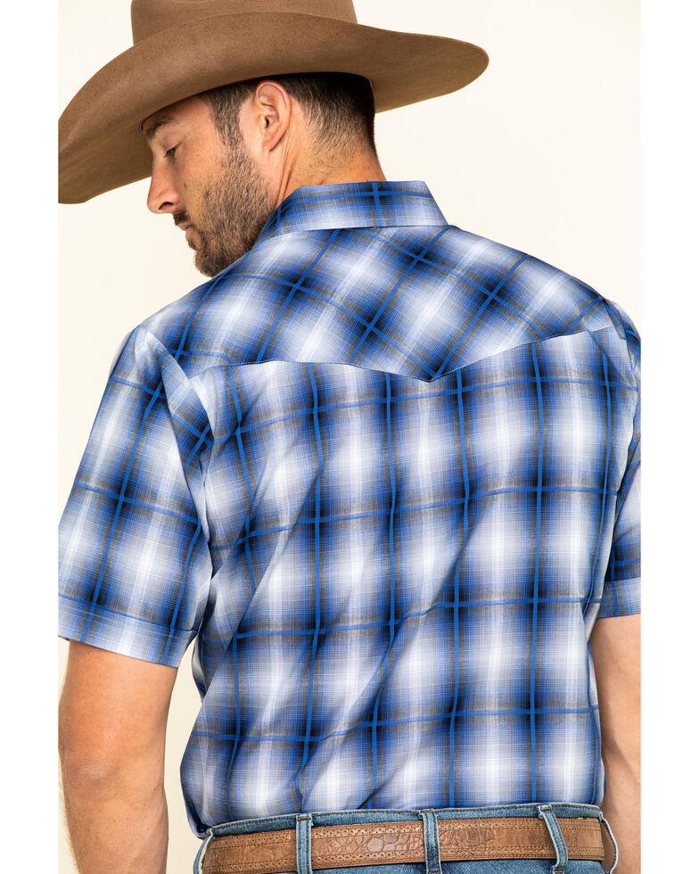 Ely Cattleman Men's Navy Dobby Plaid Short Sleeve Western Shirt - Tall, Navy, hi-res