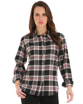Wrangler Women's Plaid Boyfriend Fit Flannel Shirt, Black, hi-res