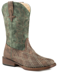 Roper Youth Boys' Cross Cut Cowboy Boots - Square Toe, Brown, hi-res
