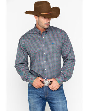 Cinch Men's Gray Geo Print Long Sleeve Shirt , Grey, hi-res