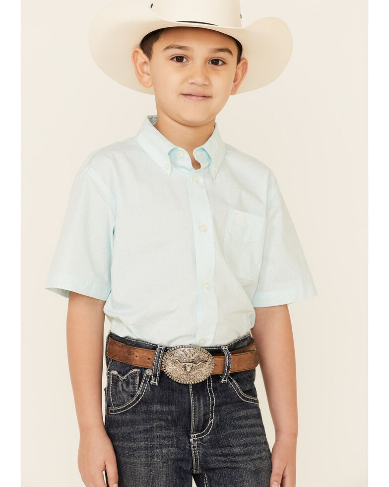 Ariat Boys' Pembroke Geo Print Short Sleeve Button-Down Western Shirt , Aqua, hi-res