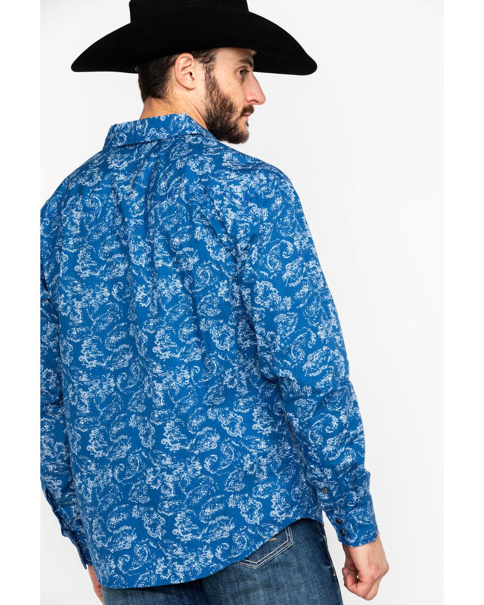 Moonshine Spirit Men's Distortion Peddle Paisley Print Long Sleeve Western Shirt , Blue, hi-res