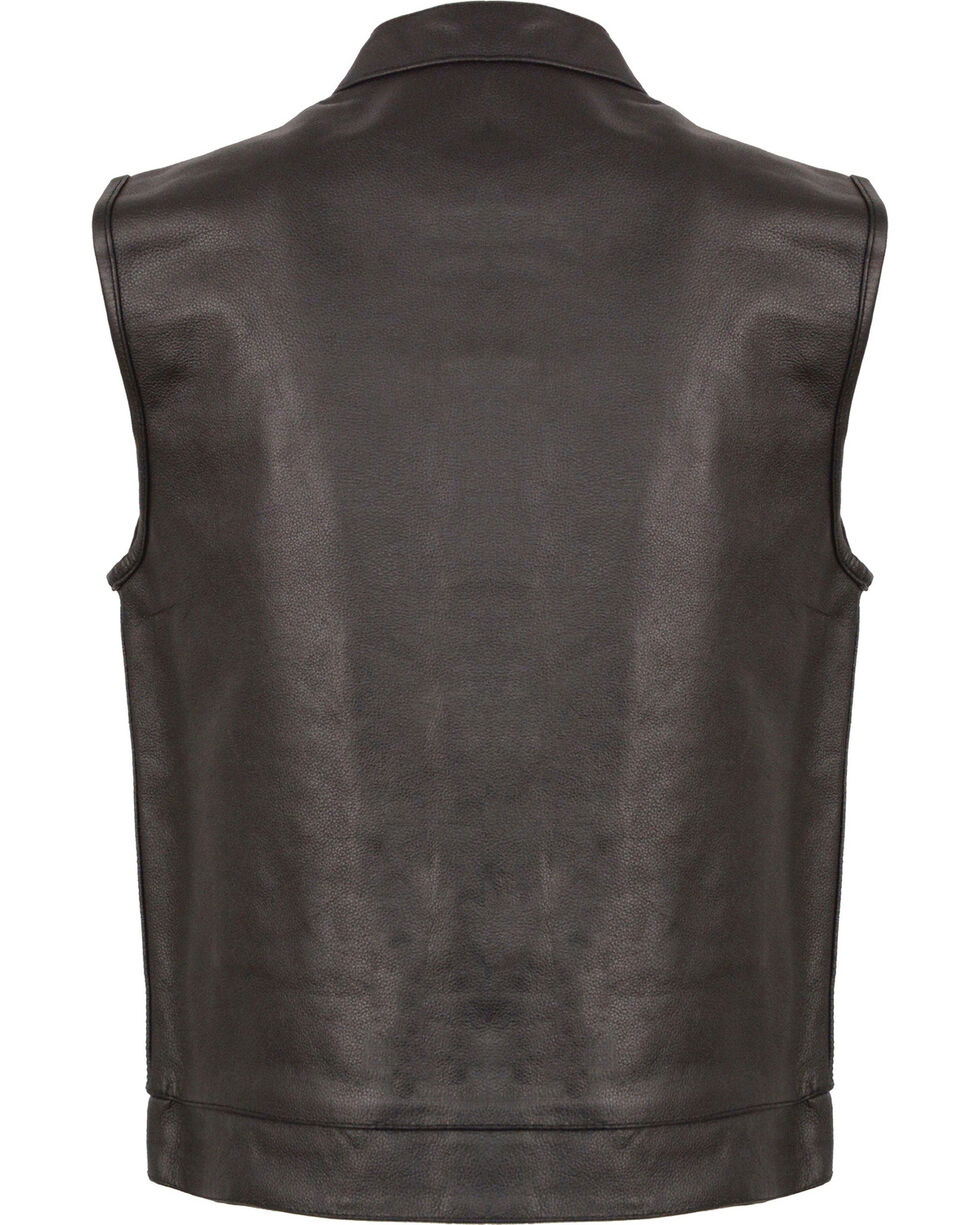 Milwaukee Leather Men's Black Open Neck Club Style Vest - Big 5X, Black, hi-res