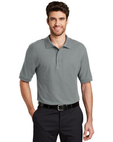 Port Authority Men's Cool Grey Silk Touch Short Sleeve Polo Shirt - Big , Charcoal, hi-res