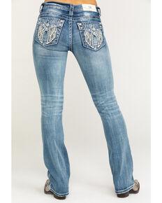 """Miss Me Women's Light Faux Flap Wing 32"""" Bootcut Jeans , Blue, hi-res"""