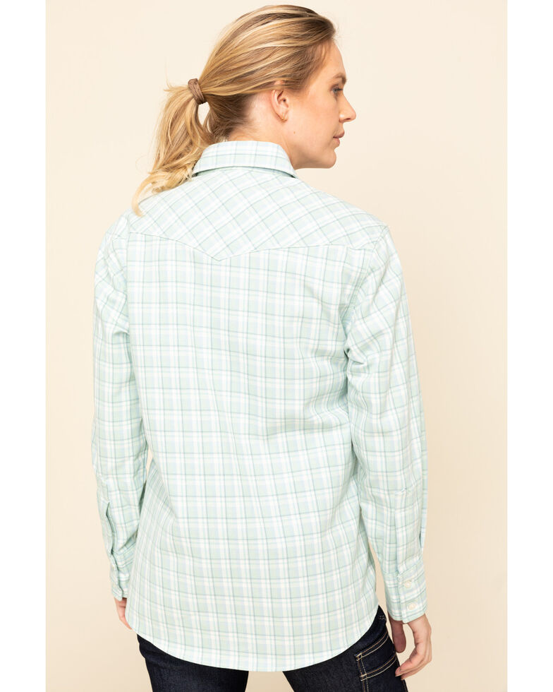 Wrangler Women's Flame Resistant Western Shirt , Turquoise, hi-res