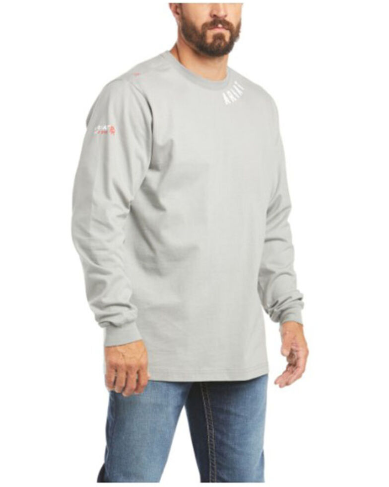 Ariat Men's FR Silver Fox Wrench Graphic Long Sleeve Work Shirt - Big & Tall , Silver, hi-res