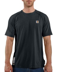 Carhartt Men's Flame Resistant Force Short Sleeve Work Shirt, Navy, hi-res