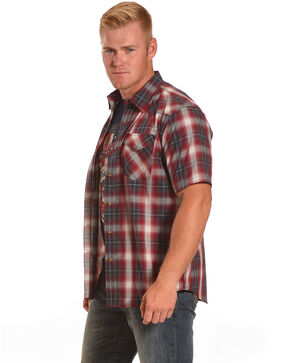 Pendleton Men's Western Short Sleeve Shirt, Blue/red, hi-res