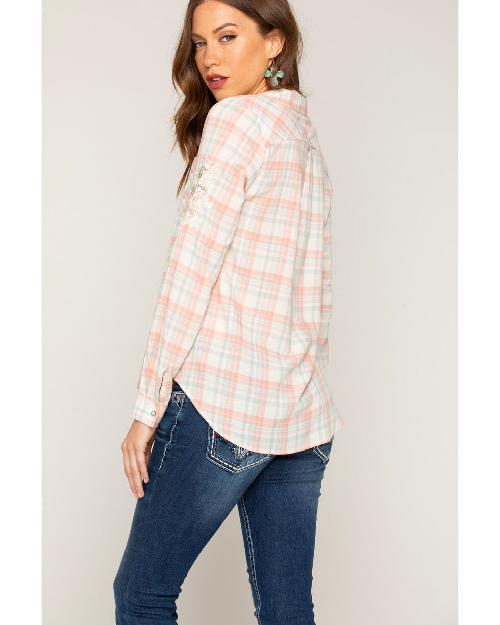 Shyanne Women's Embroidered Plaid Long Sleeve Shirt, , hi-res