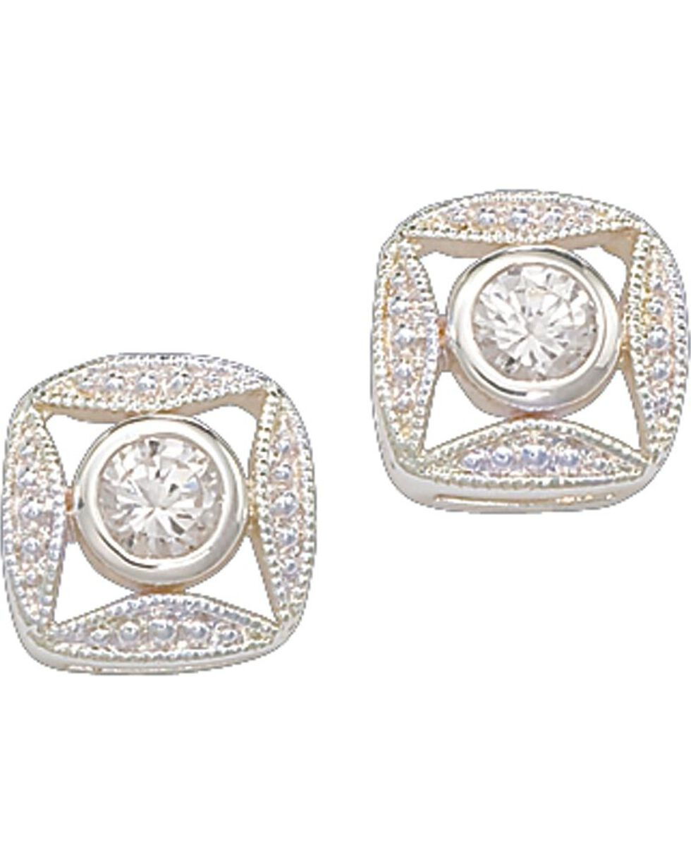 Montana Silversmiths Women's Square Bezel Crystal Earrings, Silver, hi-res