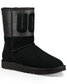 UGG Women's Classic Short Sparkle Boots - Round Toe, Black, hi-res