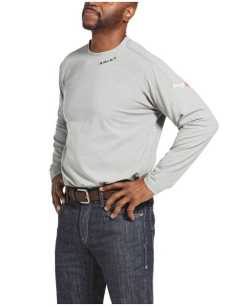 Ariat Men's FR Silver Fox Baselayer Long Sleeve Work T-Shirt , Silver, hi-res