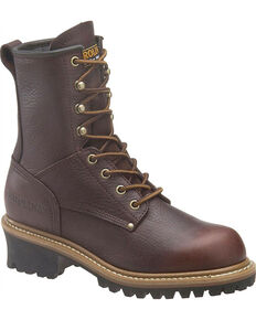 "Carolina Women's 8"" EH Logger Boots, Dark Brown, hi-res"