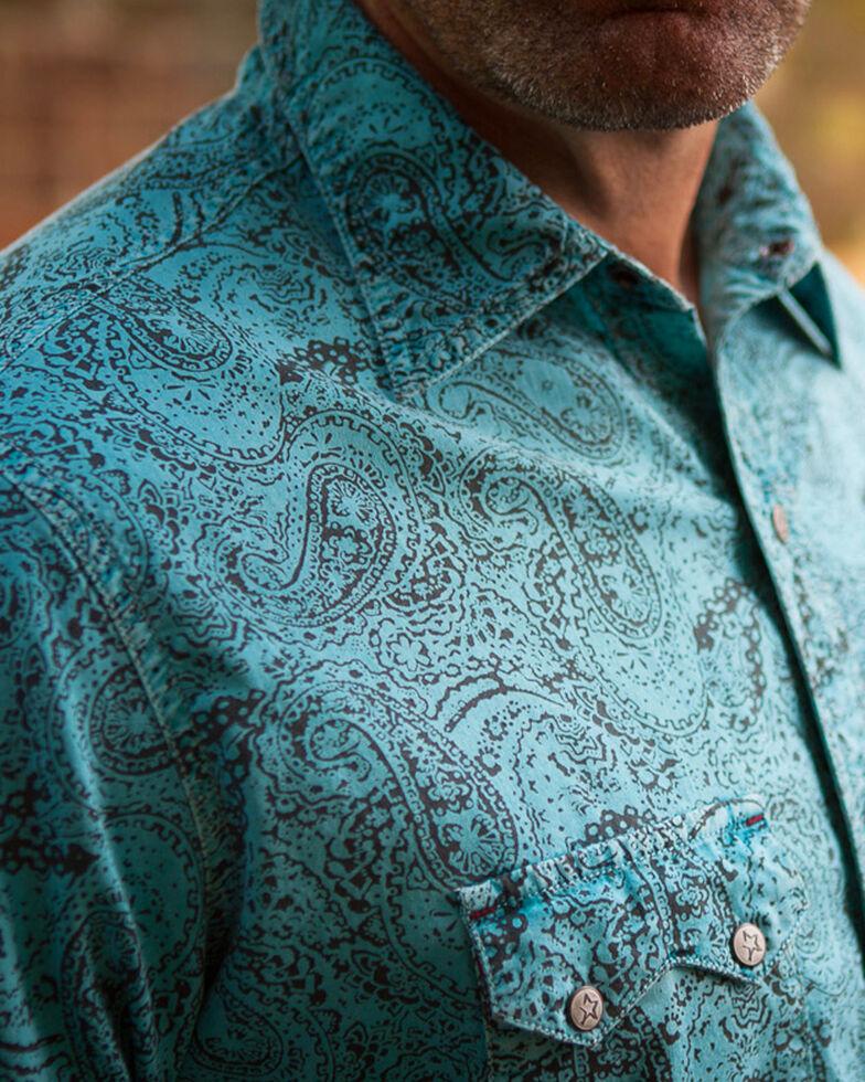 Ryan Michael Men's Distressed Paisley Short Sleeve Shirt , Light Blue, hi-res
