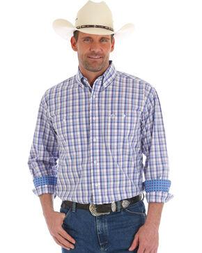 George Strait by Wrangler Men's Plaid Long Sleeve Button Down Shirt, Blue, hi-res