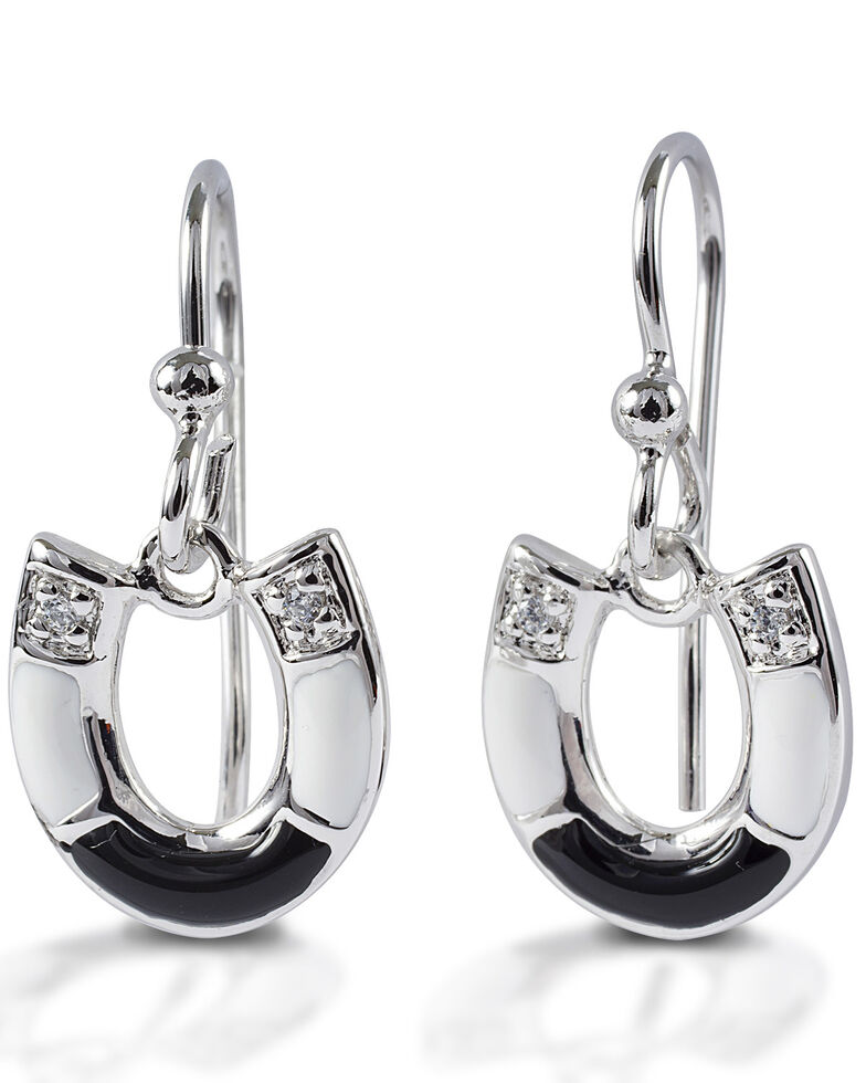 Kelly Herd Women's Black & White Horseshoe Earrings , Silver, hi-res