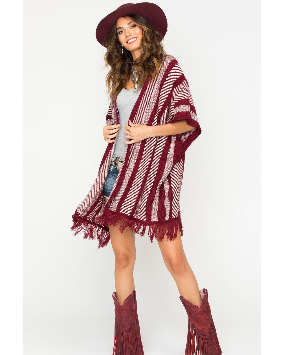Sage the Label Women's Burgundy Fringe Kimono , Burgundy, hi-res