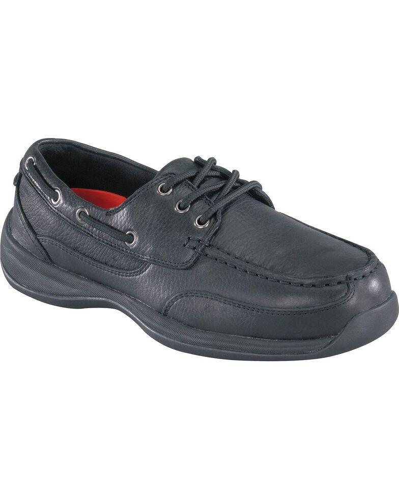 Rockport Women's Works Sailing Club Black Boat Shoes - Steel Toe, Black, hi-res