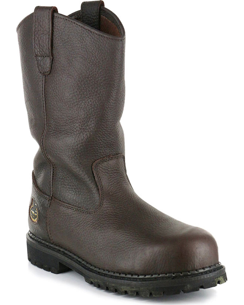 Georgia Men's Steel Toe Pull On Work Boots, Brown, hi-res