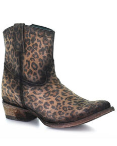 Corral Women's Leopard Print Fashion Booties - Round Toe, Leopard, hi-res