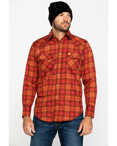 Wrangler Men's Orange 20X FR Long Sleeve Fashion Plaid Shirt - Tall, Orange, hi-res