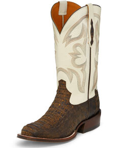 Tony Lama Men's Zachary Exotic Caiman Western Boots - Round Toe, Brown, hi-res