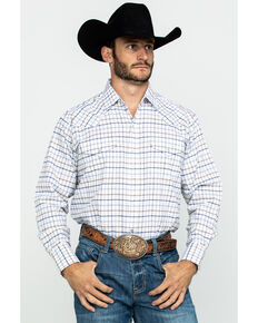 Ely Cattleman Men's Assorted Wrinkle Resistant Plaid Long Sleeve Western Shirt - Tall , Multi, hi-res