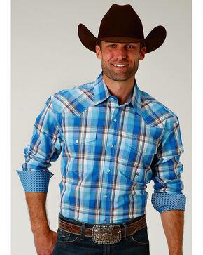 Roper Men's Blue Panes Plaid Long Sleeve Western Snap Shirt, Blue, hi-res