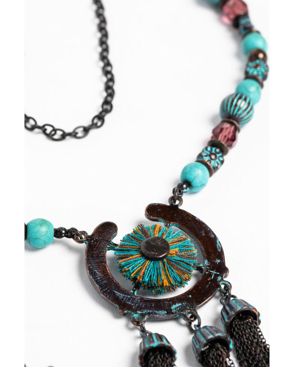 Shyanne Women's Patina Crescent 3 Tassel Necklace Set, Turquoise, hi-res