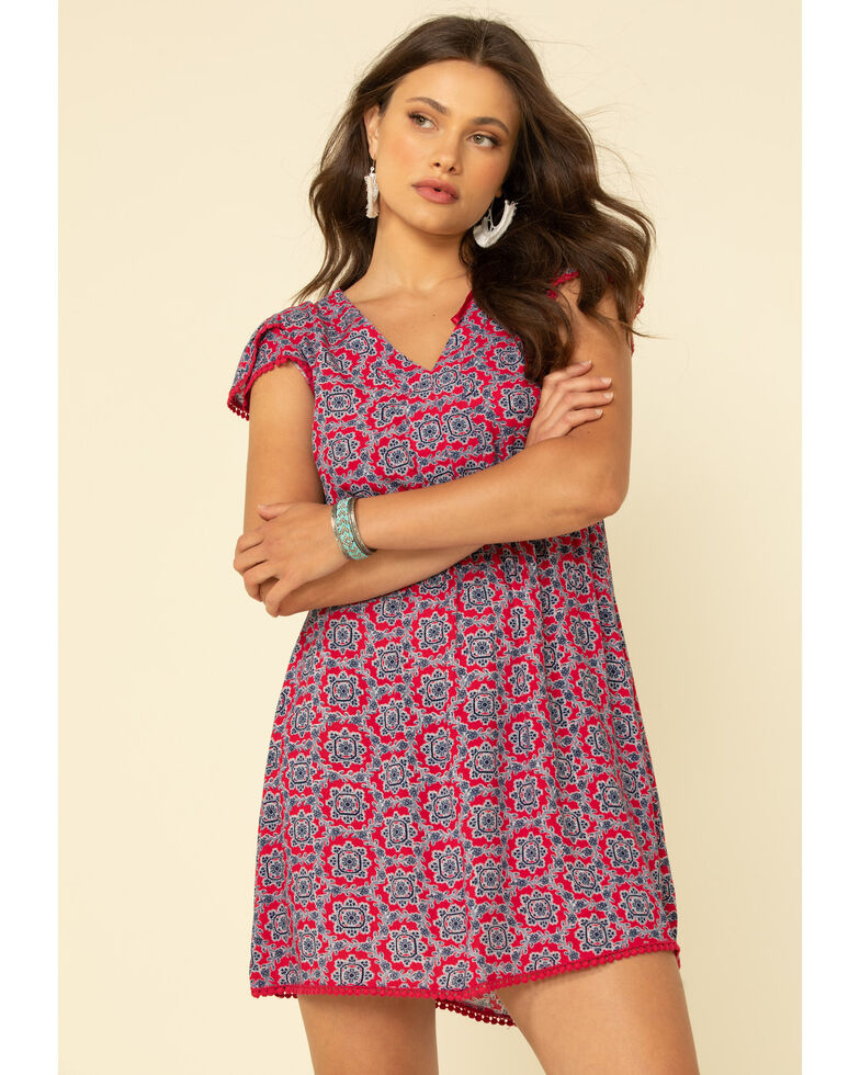Wrangler Women's Red Tile Print Short Sleeve Dress, Red, hi-res