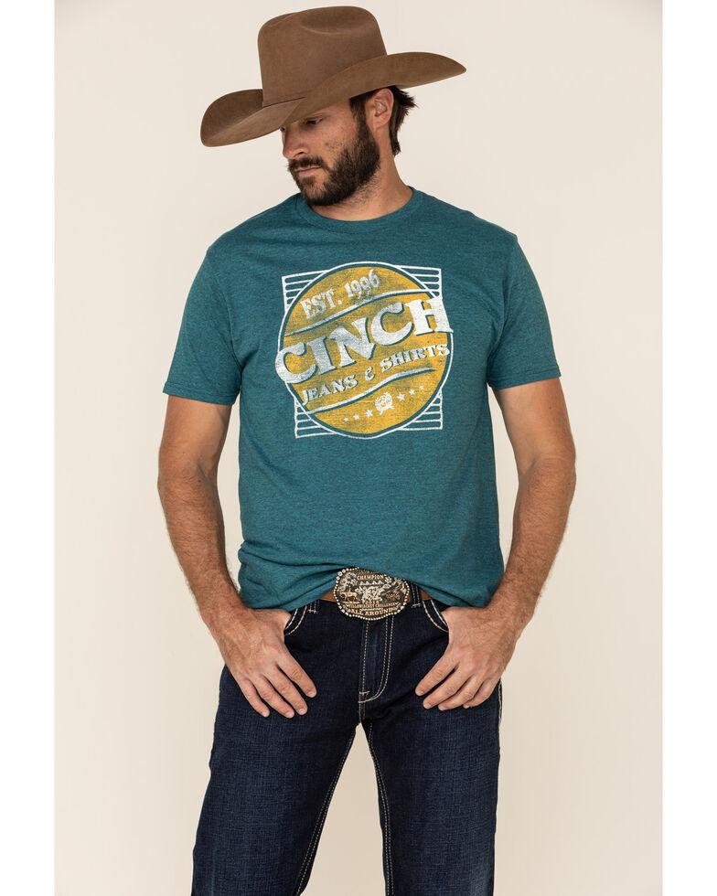 Cinch Men's Turquoise Vintage Circle Logo Graphic T-Shirt , Turquoise, hi-res