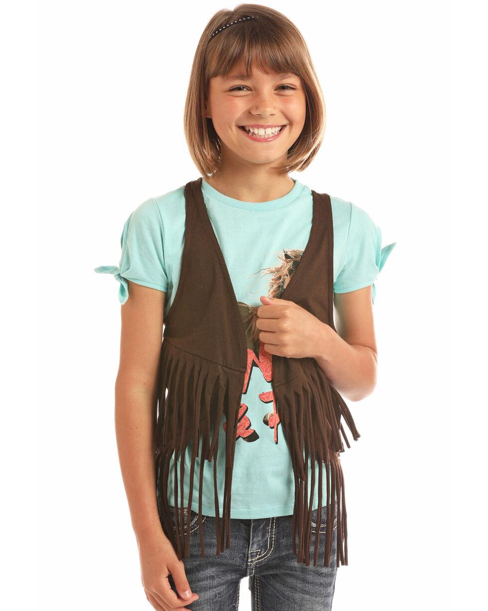Rock & Roll Cowgirl Girls' Heathered Fringe Vest, Brown, hi-res