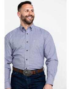 Ariat Men's Mo Stretch Small Plaid Long Sleeve Western Shirt - Big & Tall , Purple, hi-res
