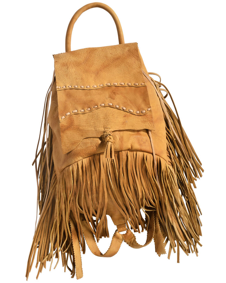 Kobler Leather Khaki Fringed Backpack, Khaki, hi-res