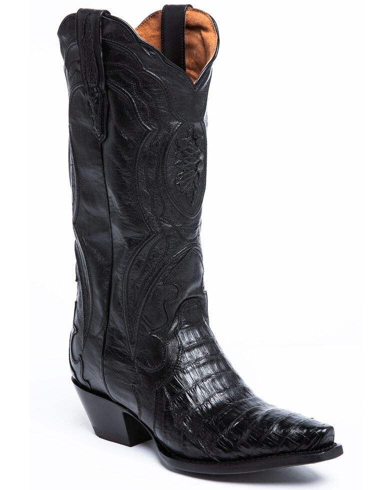 Dan Post Women's Black Caiman Belly Western Boots - Snip Toe, Black, hi-res