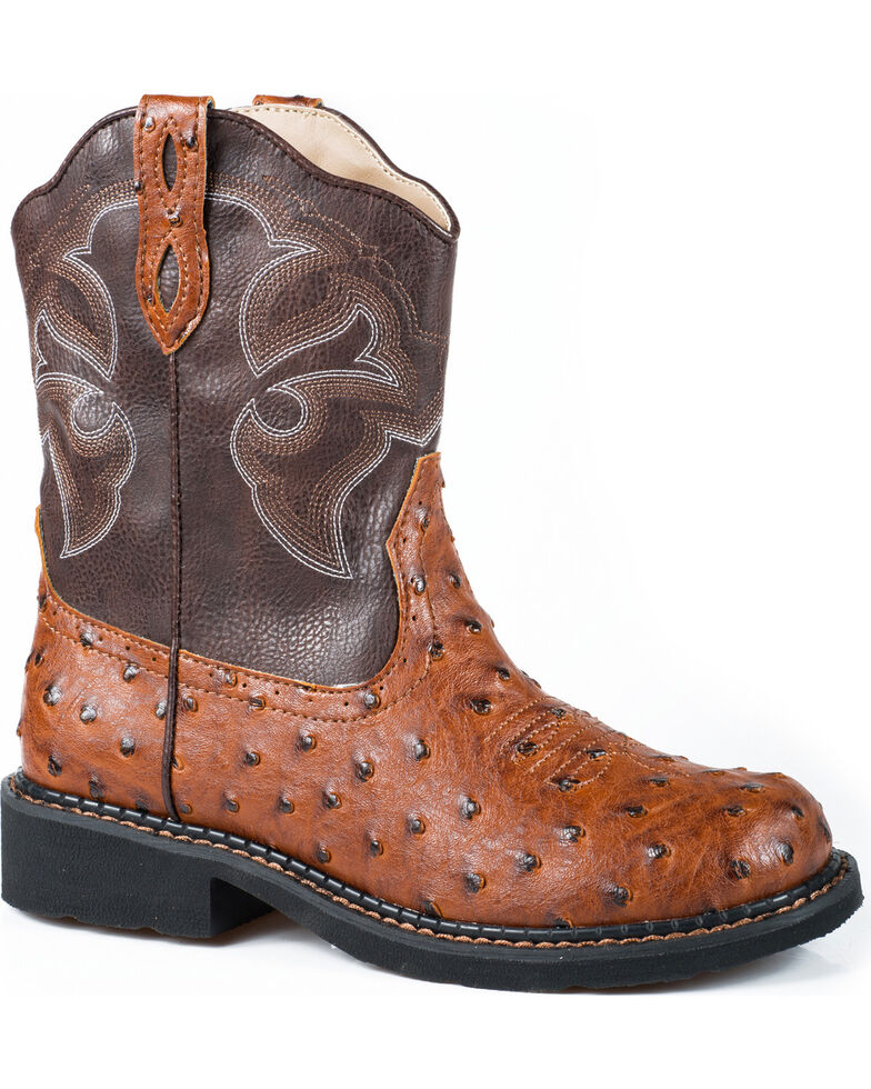 Roper Women's Chunk Faux Ostrich Western Boots, Tan, hi-res
