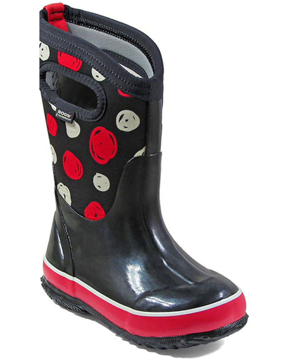 Bogs Girls' Classic Sketched Dots Insulated Boots - Round Toe, Black, hi-res