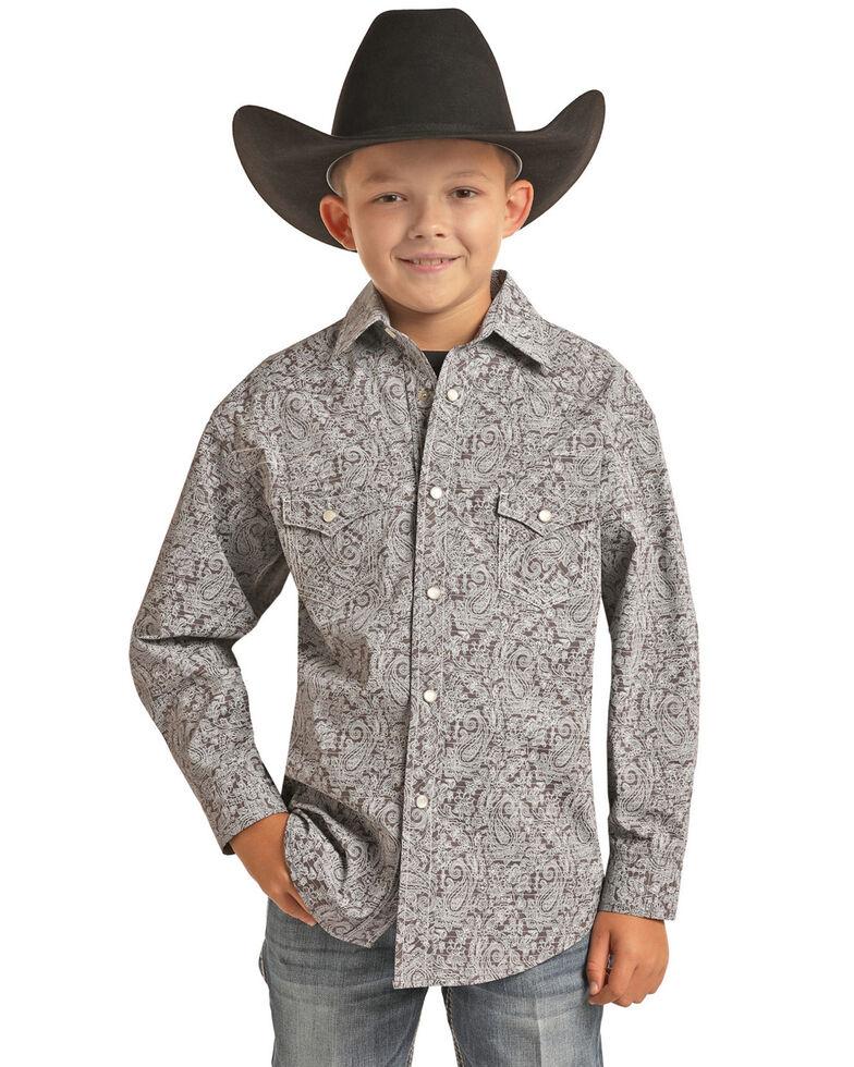 Rock & Roll Denim Boys' Charcoal Paisley Print Long Sleeve Western Shirt , Charcoal, hi-res