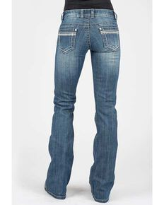 Stetson Women's 816 Medium Stitched Bootcut Jeans , Blue, hi-res