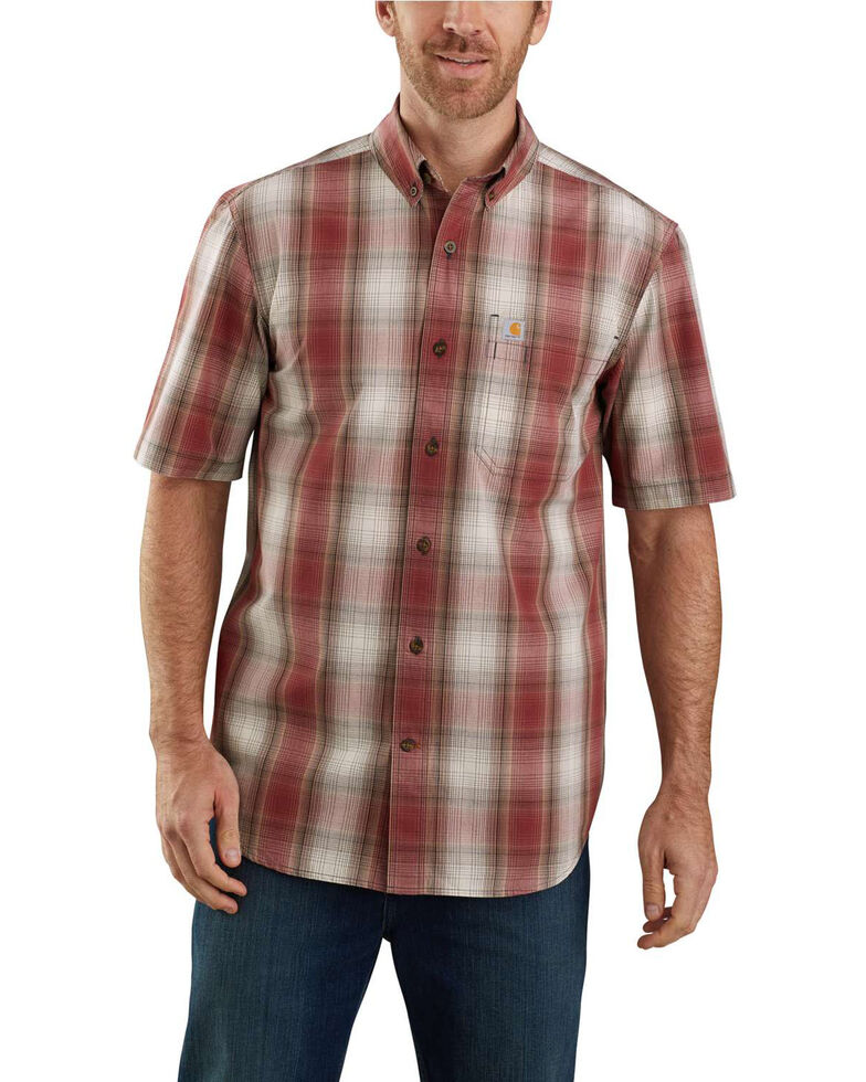 Carhartt Men's Dark Red Essential Plaid Button Down Short Sleeve Work Shirt - Big , Dark Red, hi-res