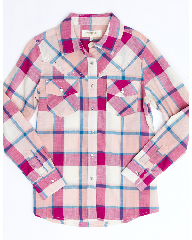 Shyanne Girls' Pink Fuscia Plaid Long Sleeve Western Core Shirt , Fuscia, hi-res