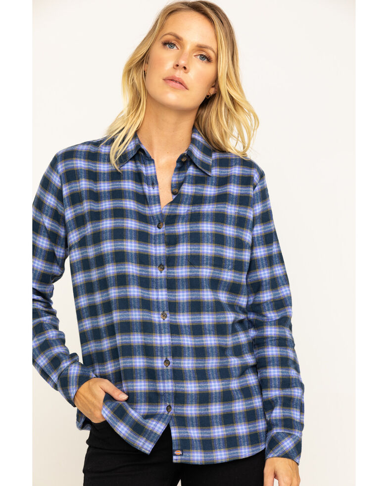 Dickies Women's Plaid Long Sleeve Flannel Shirt, Navy, hi-res