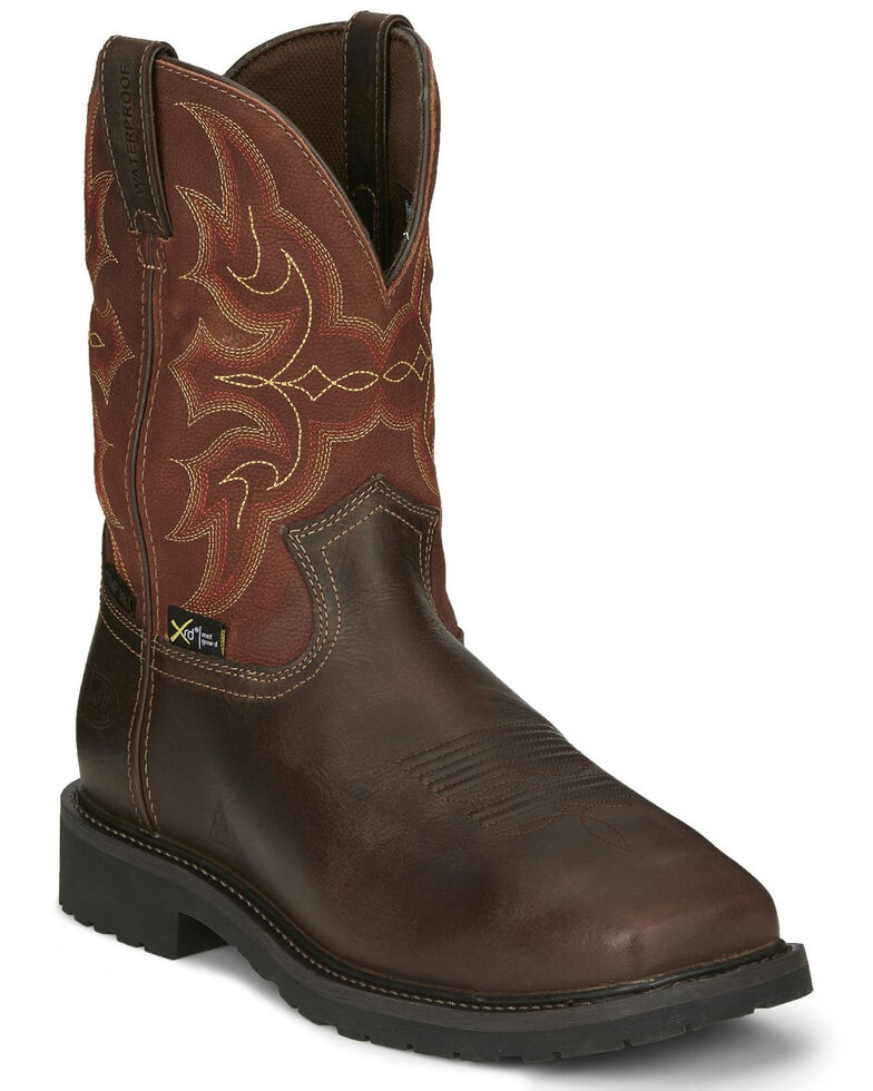Justin Men's Ricochet Waterproof Western Work Boots - Composite Toe, Dark Brown, hi-res