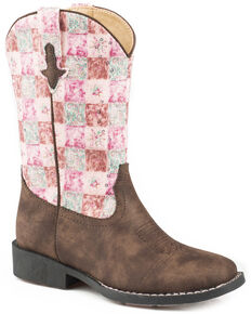 Roper Girls' Floral Shine Sequin Cowgirl Boots - Square Toe, Brown, hi-res