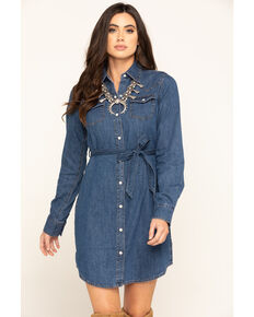 Wrangler Women's Denim Aztec Embroidered Snap Long Sleeve Dress, Blue, hi-res