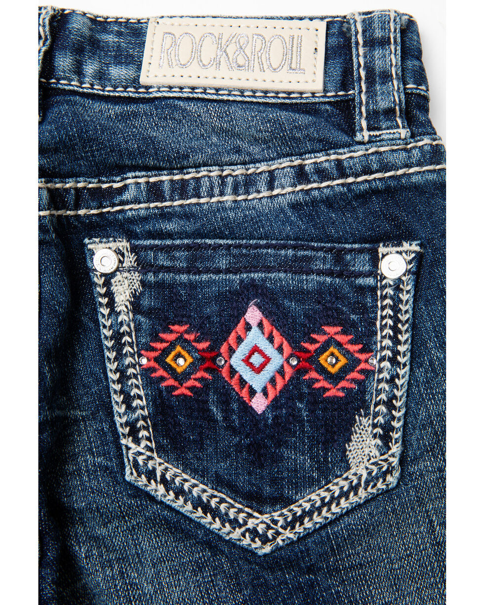 Rock & Roll Cowgirl Girls' Aztec Bootcut Jeans, Light Blue, hi-res