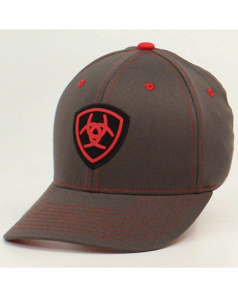 Ariat Men's FlexFit Logo Ball Cap, Grey, hi-res