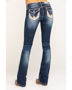 Miss Me Women's Dark Wash Western Leather Pocket Bootcut Jeans, Blue, hi-res