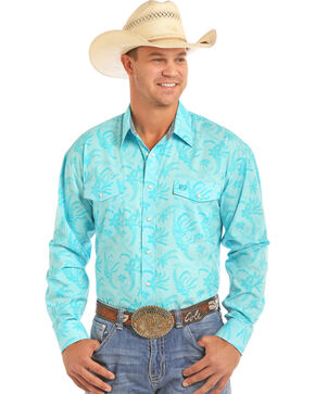 Panhandle Men's Floral Print Poplin Long Sleeve Shirt, Blue, hi-res